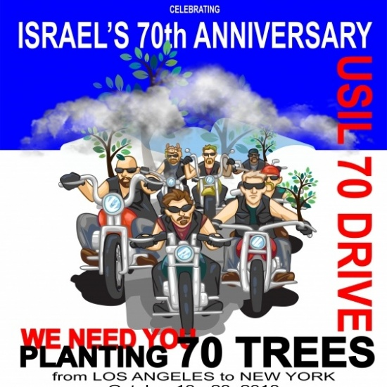 Jews and Christians riding and planting oak trees in support of Israel Photo