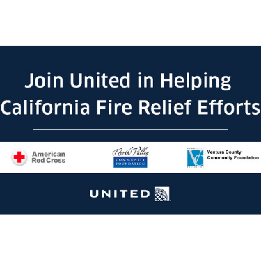 United Airlines California Wildfire Relief Photo